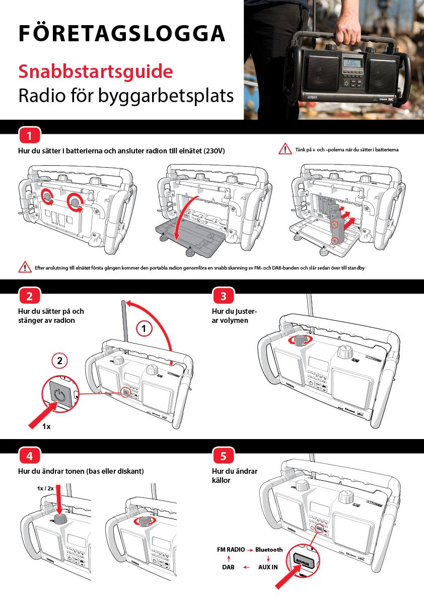 Snabbstartsguide för bärbar radio