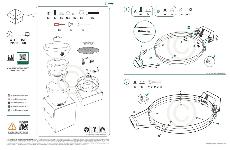 En snabbstartsguide som förklarar monteringen av en Green Egg-kokare